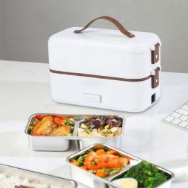 """20分鐘出好菜""""上班族午餐夥伴 保溫蒸煮自熱雙層便當盒~食品級304不鏽鋼 可插電"""