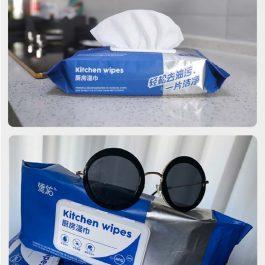"""強力去油去汙""""大包裝 拋棄式加大加厚廚房濕巾 40片一包~速效清潔 一擦即淨"""