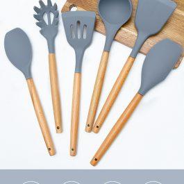 """保值不沾鍋""""亞馬遜熱賣!木柄矽膠廚具12件套組~不粘鍋廚具/烹飪/湯勺鏟 附收納桶 可懸掛/食品級耐熱"""
