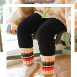 """腿腿暖呼呼""""加絨加厚 兒童保暖假兩件內搭褲~褲管繽紛雪地風設計 太卡哇伊"""