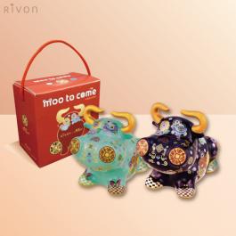 小牛【洪易藝術家創作】 禮坊 Rivon-2021 限定 牛轉乾坤瓷器禮盒/撲滿組