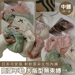 """3件一套""""日系可愛風 中腰 軟軟雲朵女性內褲 3件組~高彈不勒 大版型無束縛-"""