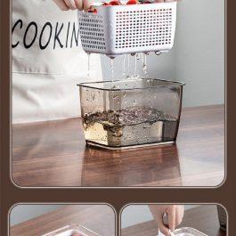 """清洗+瀝水+保鮮""""多功能 雙層分格瀝水保鮮盒~大款/中款/小款"""