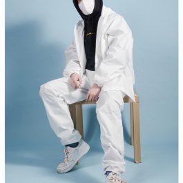 """從頭到腳保護""""防塵防飛沫 兩件式帶帽防護服~大人/兒童 穿脫更方便-"""