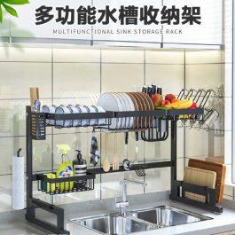 """免運""""廚房空間大利用 雙層伸縮置物收納架 豪華版 附紙巾架+杯架~簍空瀝水 自由調整"""