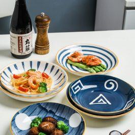 """大款8吋""""懷舊日式和風 青瑤系列日式陶瓷大款深盤~可入烤箱微波爐"""